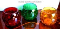 Green Crackle Glass Tealight Holder